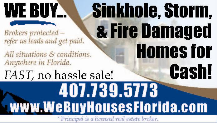 We buy sinkhole houses. We buy fire damage houses. We buy storm and flood damage house. Sell home cash Orlando, Kissimmee, Apopka, Deltona, Tampa, Lakeland, Ocala Florida.